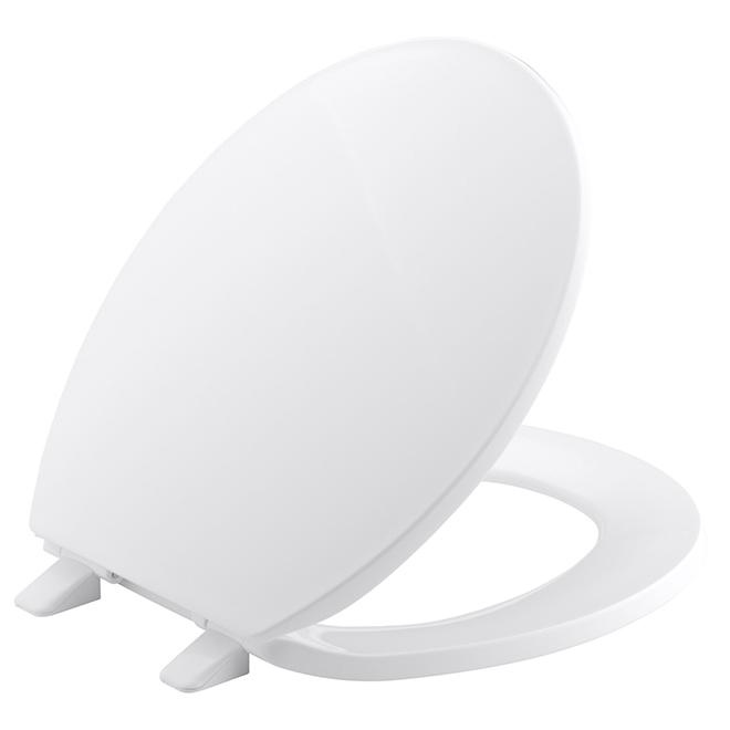 Siège de toilette rond, plastique, blanc