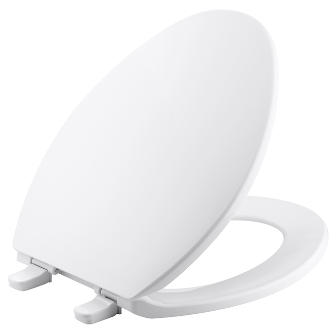 Siège de toilette allongé, plastique, blanc