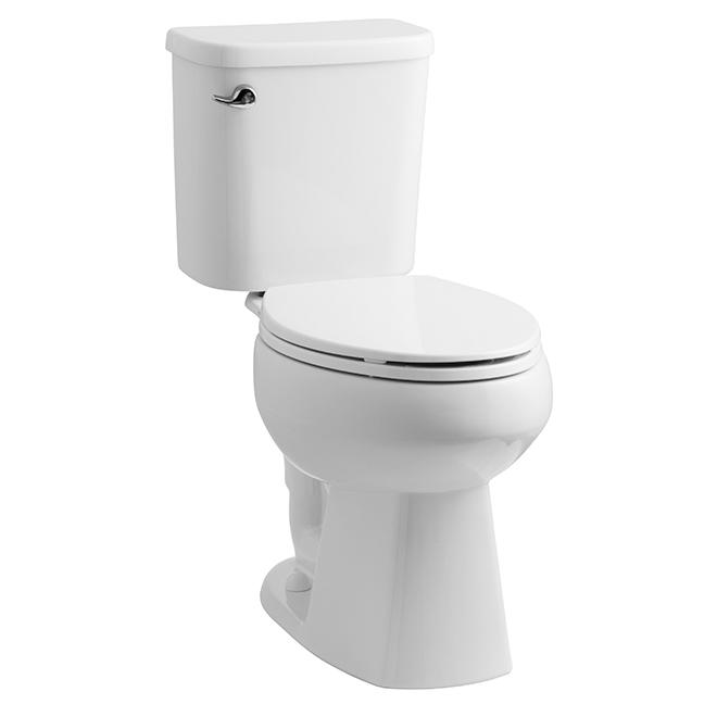 Toilette allongée, 2pièces, porcelaine vitrifiée, blanc