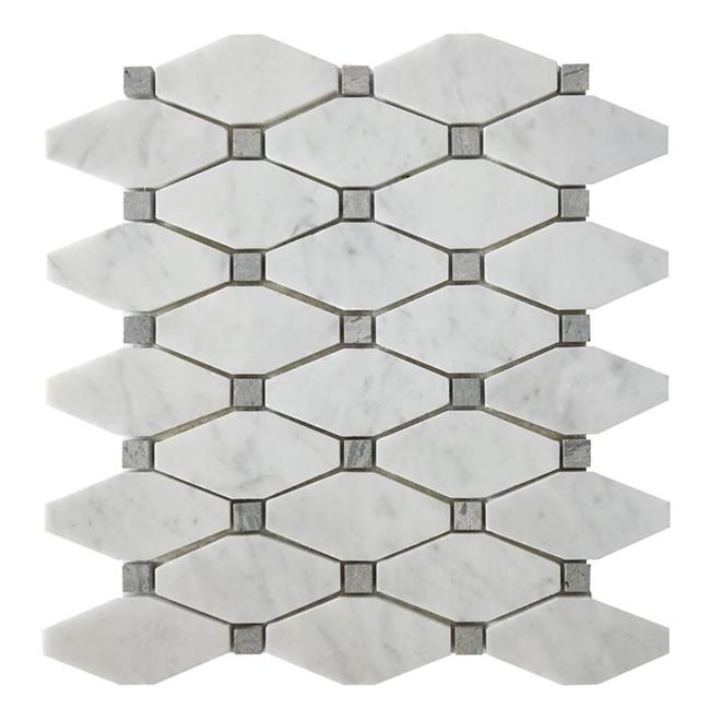 Mosaic Octagon Carrara Marble Tile 11 X 12 White