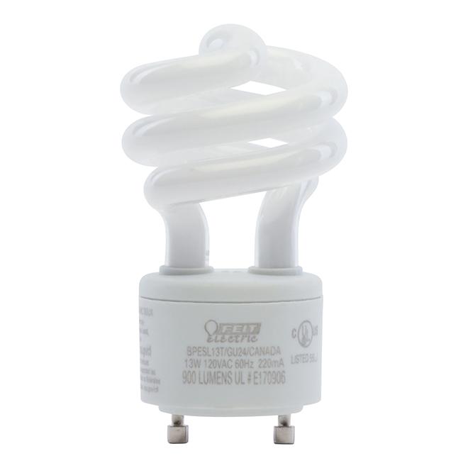 Ampoule fluocompacte GU24, 13 W, non variable, blanc doux