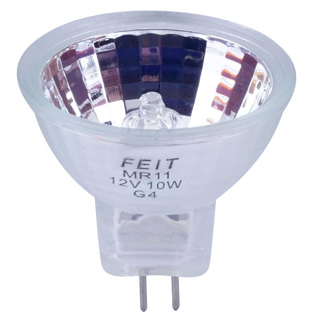 Feit Electric Dimmable Halogen Light Bulb - 10-Watt - MR11-G4 Base - Flood Reflector - for 12-Volt Fixtures