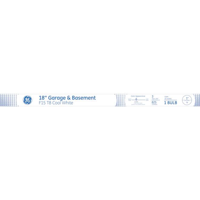 """Tube fluorescent, F15 T8, 18"""", 15W, verre, blanc froid"""