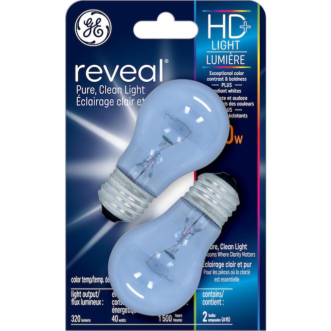 GE Reveal HD+ Colour-Enhancing 40W Incandescent Clear Ceiling Fan Medium Base A15 Light Bulbs (2-Pack)