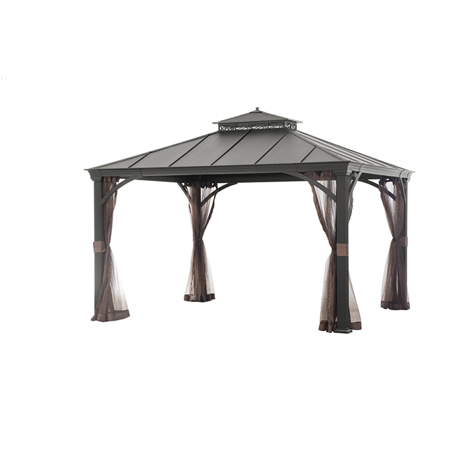 Gazebo - Hardtop - 10' x 12' - Steel - Netting - Brown