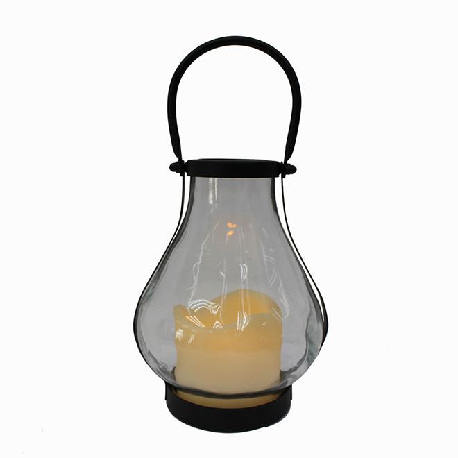 """Lanterne décorative et chandelle, 6"""" X 5"""" X 7"""", noir"""
