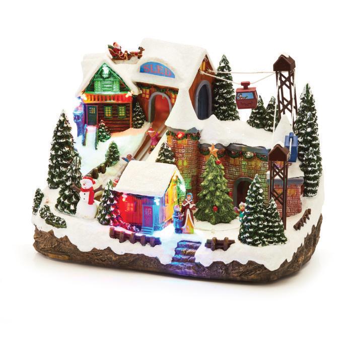 Musical Christmas Decoration - Sled & Ski Lift - LED