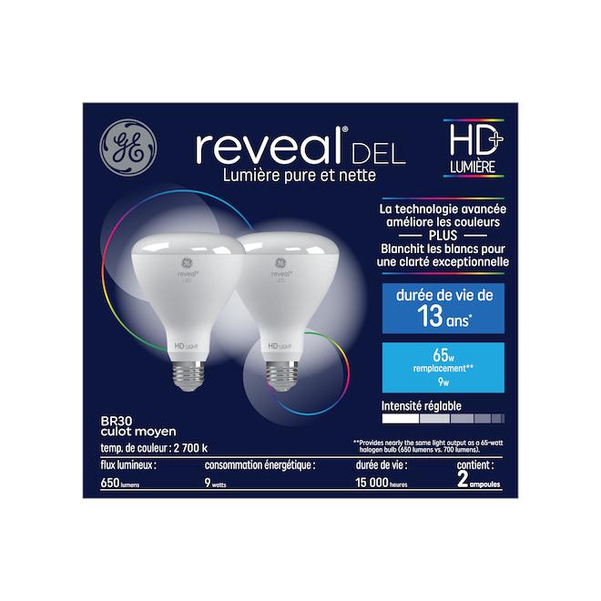 Ampoule DEL BR30 9 W, blanc doux, paquet de 2