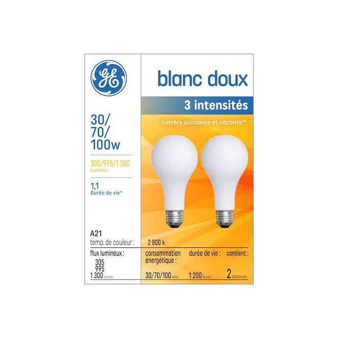 Ampoule incandescente 3 intensités, verre, givrée, 2/pqt
