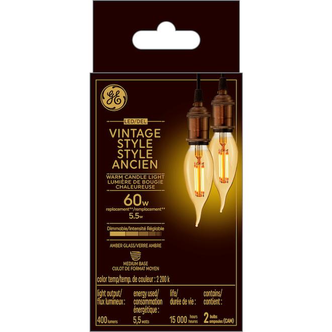 Ampoule vintage DEL GE, CAM, 5,5 W, lueur chandelle, pqt/ 2