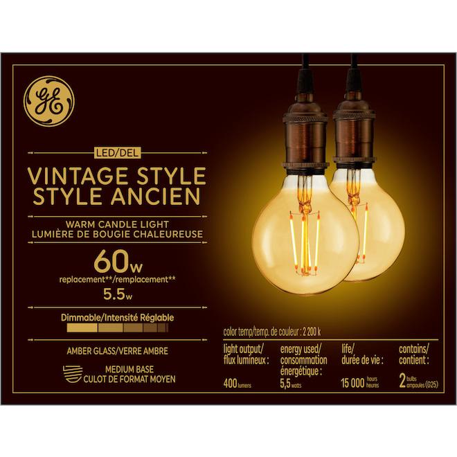 Ampoule DEL GE, G25, 5,5 W, lueur de chandelle, pqt/ 2