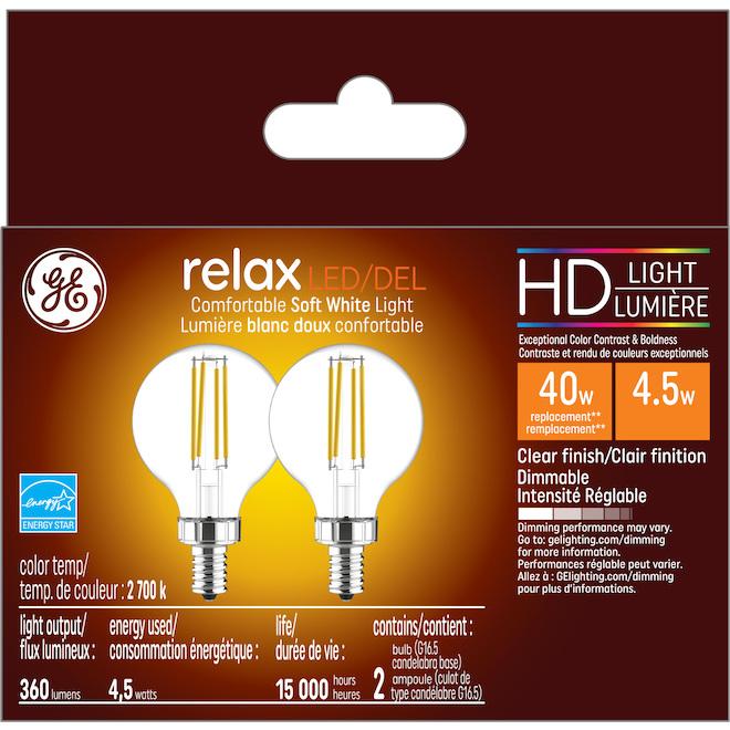 HD LED Bulb - G16.5 - 4.5 W - Glass - Soft White - 2-Pack