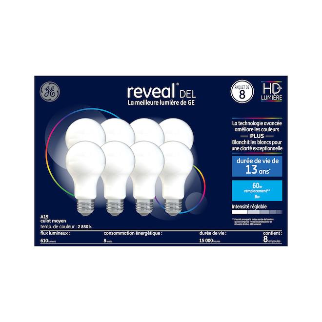 Ampoules à DEL HD Reveal de 60W, A19, de GE, paquet de 8