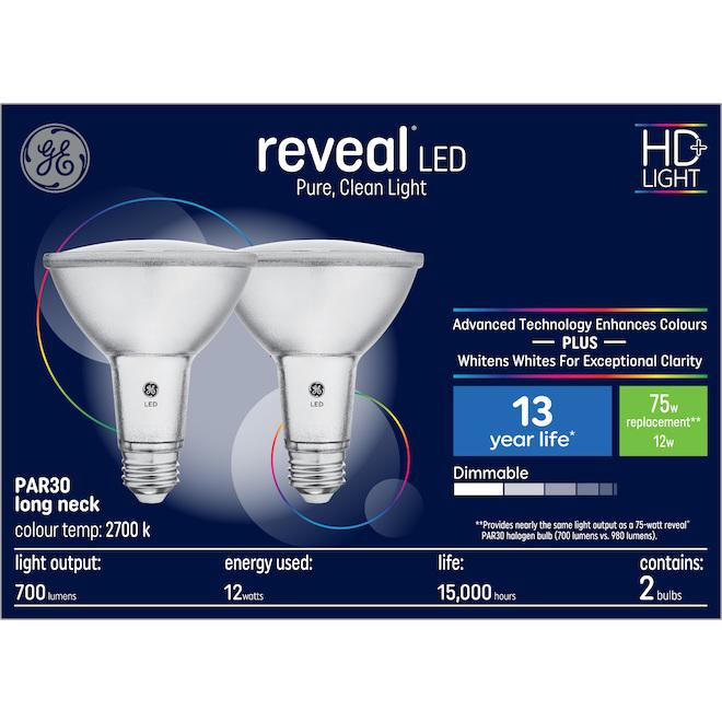 GE Reveal HD+ Colour-Enhancing 75W Replacement LED Indoor Floodlight Long Neck PAR30 Bulb (2-Pack)