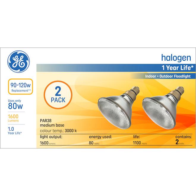GE Warm White 120W Replacement Halogen Outdoor Floodlight PAR38 Light Bulbs (2-Pack)
