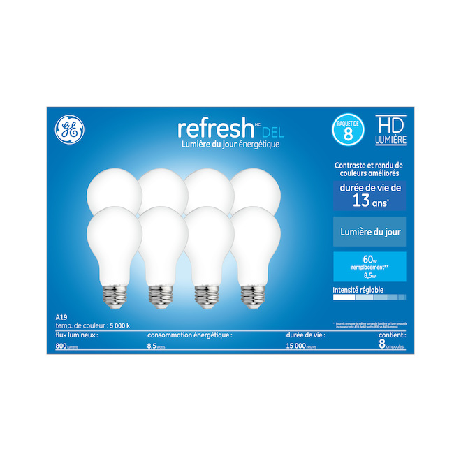 Ampoules Refresh HD par GE A19 à DEL lumière du jour de 60 W à usage général, paquet de 8
