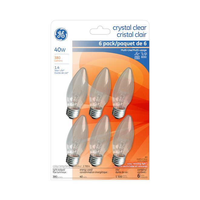 Incandescent Bulbs - B13- 40 W - Glass - Soft White - 6-Pack