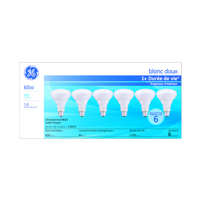 GE Soft White 65W Incandescent Indoor Floodlight BR30 Light Bulbs (6-Pack)