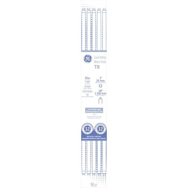GE Cool White 32 W Fluorescent 48-in G13 Base T8 Light Bulb (12-Pack)