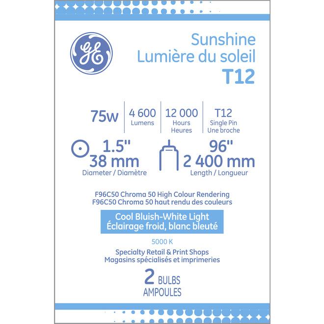 """Tube fluorescent GE, T12, 75 W, 96"""", lumière du soleil, 2/pqt"""