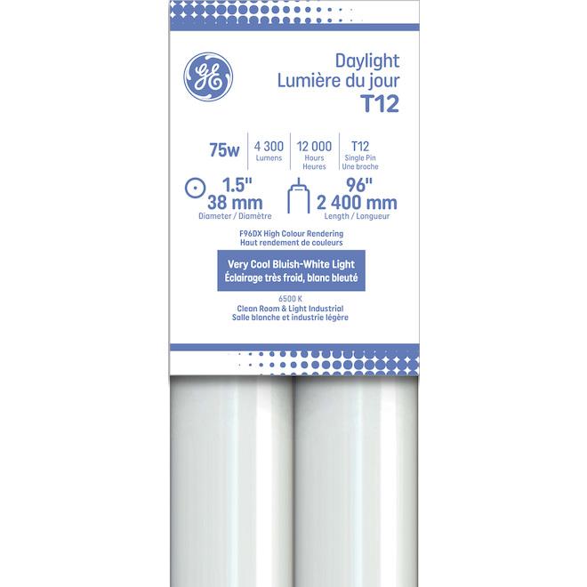 GE Daylight 75W Fluorescent Fa8 Base 96-in T12 Light Bulbs (2-Pack)