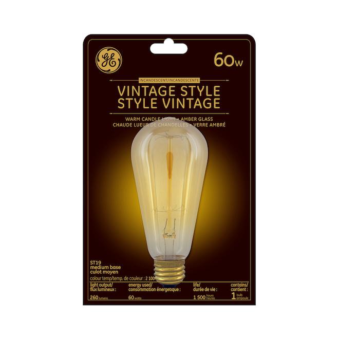 Ampoule incandescente vintage, ST19, 60W, lueur de chandelle