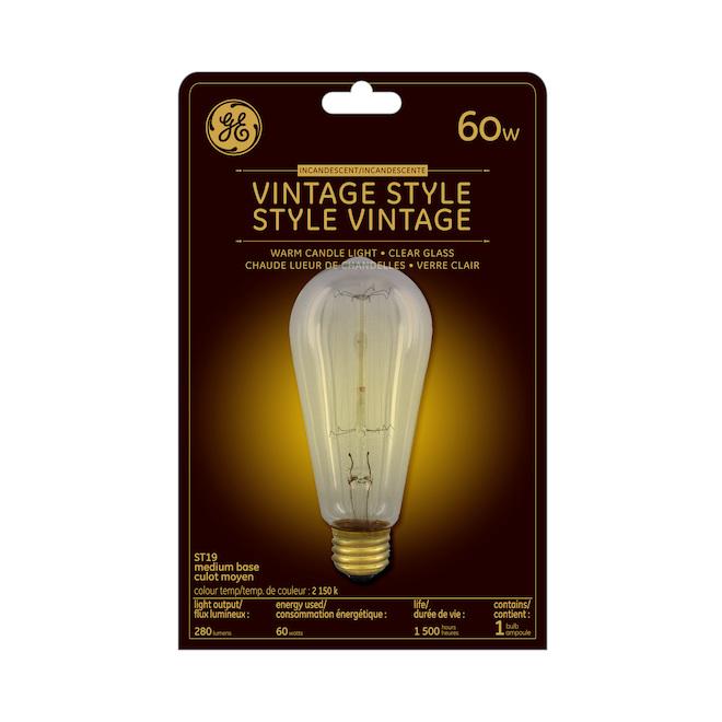 Ampoule incandescente, ST19, 60 W, verre, chandelle, 1/pqt