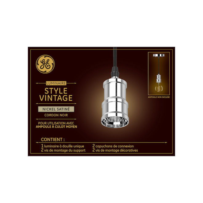 "GE Pendant Light for Vintage Bulbs- 7"" - Metal- Satin Nickel"