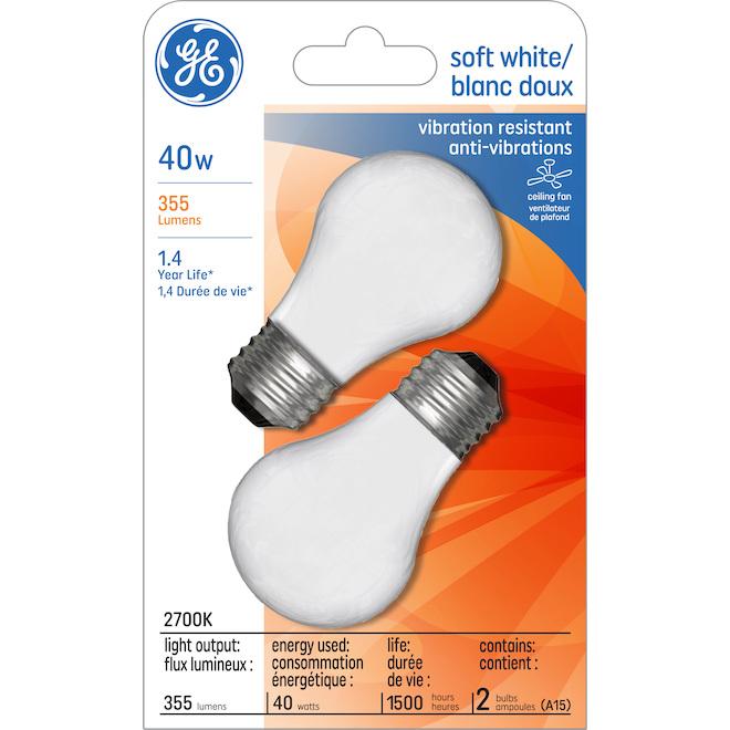 GE Incandescent Bulb - A15FR - 40 W - 2/Pck - Soft White