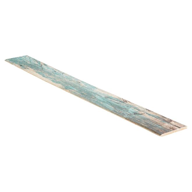 """Revêtement mural bois de grange, 8"""" x 96.25"""", turquoise"""