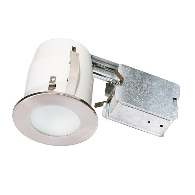Luminaire encastré modulable pour endroit humide Bazz, 3 7/8 po de diamètre, chrome brossé, ampoules halogènes GU10 35 W