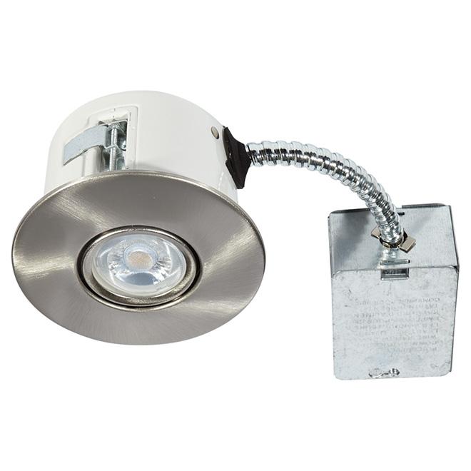 Luminaire encastré orientable, FLEX, DEL 7 W, acier brossé