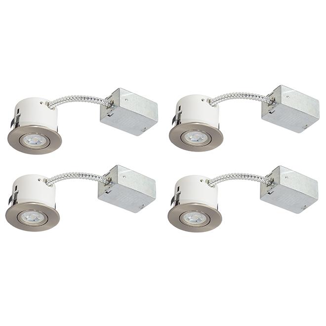 """Luminaires encastrés, DEL 7 W, 3 3/8"""", acier brossé, 4/pqt"""