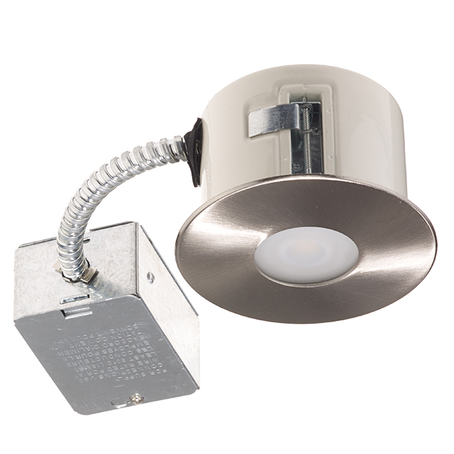 "Recessed Shower Light - 7W LED - 3 7/8"" - Brushed Steel"