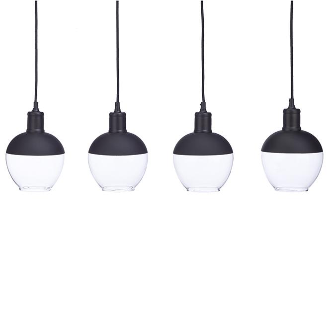 Luminaire suspendu Bazz, 4 globes en verre, noir