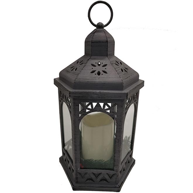 Lanterne avec chandelle DEL, gris
