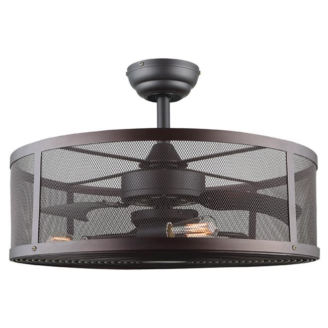 Ventilateur de plafond, 3 ampoules 60 W, bronze huilé