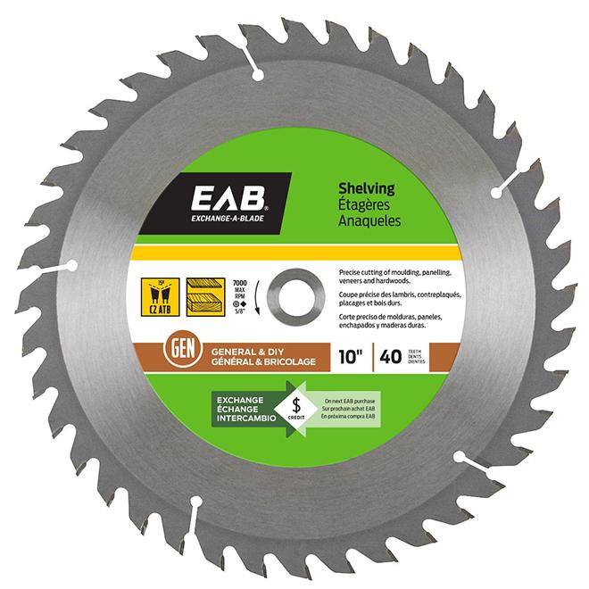 "Shelving Circular Saw Carbide Blade - 10"" - 40TH"