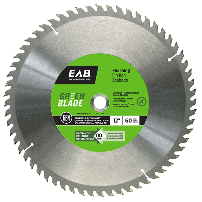 """Green Blade"" Finishing Carbide Blade - 12"" - 60TH"