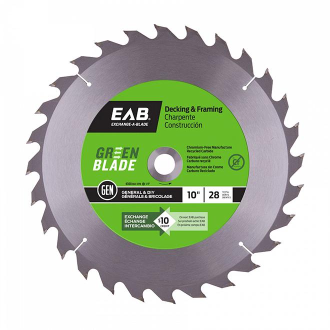 """Green Blade"" Framing Carbide Blade - 10"" - 28TH"