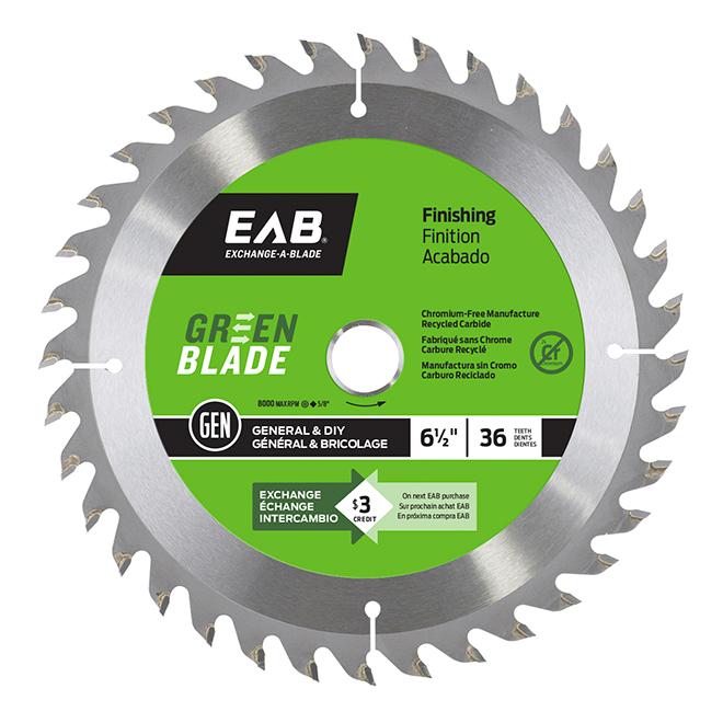"EAB Tool Carbide Finishing Saw Blade - Green Series - 6 1/2"" x 36 Teeth - Exchangeable"