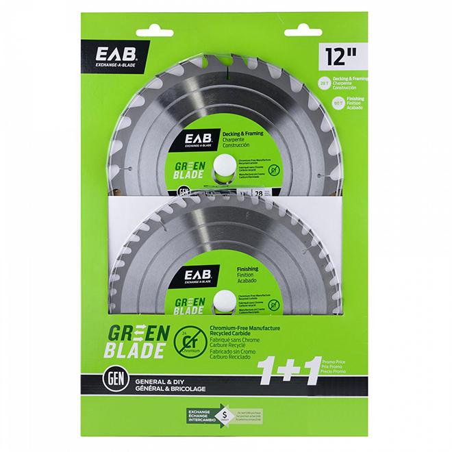 Ensemble de lames de scie pour charpente Go Green EAB recyclables, 2 pièces, 12 po dia, 28DT et 48DT