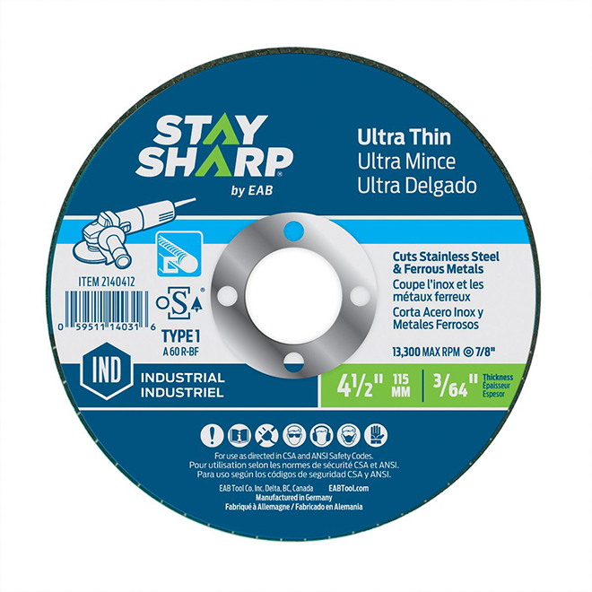 """Meule plate ultra-mince pour métal/acier inoxydable, 4 1/2"""""""