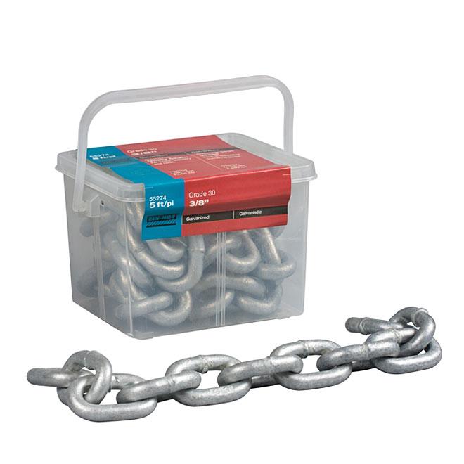 Chain - Galvanized Steel - Grade 30 - 3/8'' x 5'
