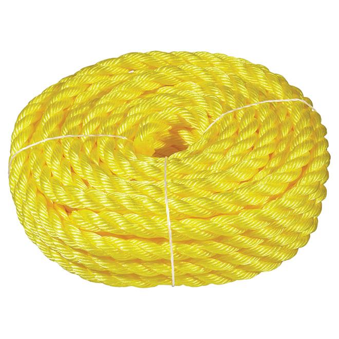 "Corde polypropylène, torsadée à 3 torons, 3/4"" x 50', jaune"