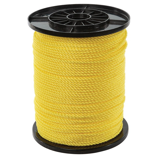 "Corde polypropylène, torsadée à 3 torons, 3/16"" x 900', jaune"