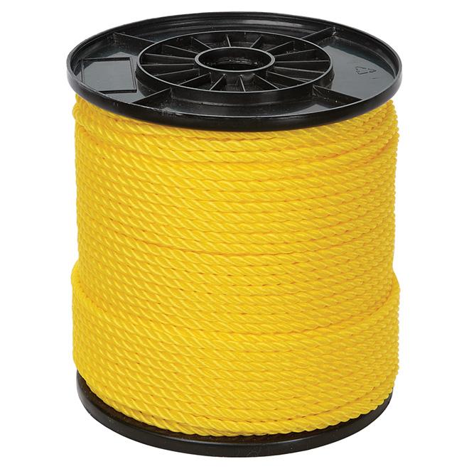 Corde torsadée en polypropylène Ben-Mor, 3 torons, jaune, 550 pi x 1/4 po