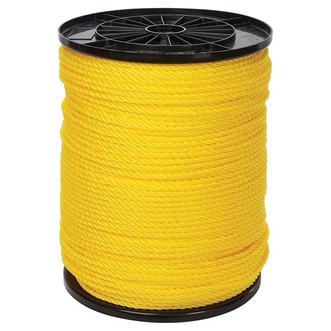 "Corde polypropylène, torsadée à 3 torons, 1/4"" x 1300', jaune"