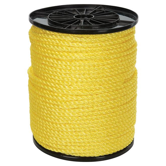 "Corde polypropylène, torsadée à 3 torons, 3/8"" x 630', jaune"