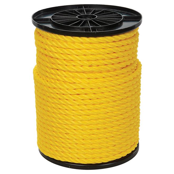 "Corde polypropylène, torsadée à 3 torons, 1/2"" x 335', jaune"